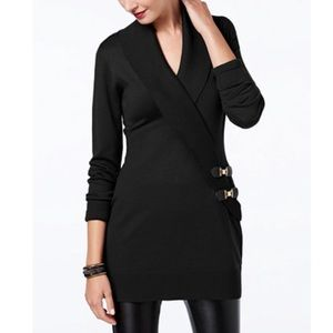 Black wrap sweater with buckles